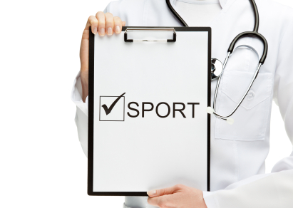 "Doctor advising doing sport; closeup of doctor's hands holding clipboard with ""Sport"" inscription isolated on white"